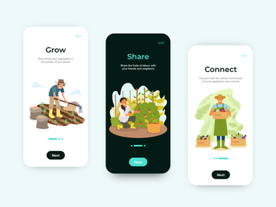lucky lemon App ui design illustration uiux mobile app app design ui onboarding garden farming gardener gardening user interface design