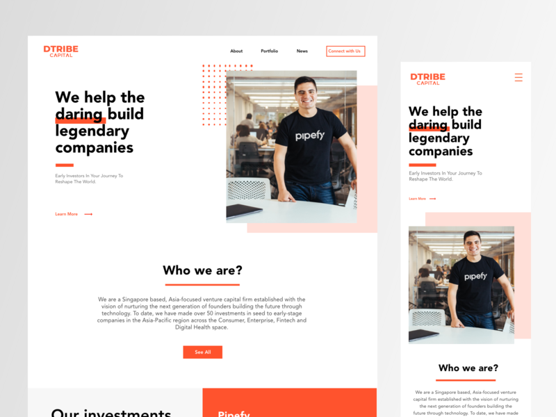 D Tribe interface ux user landing page uxdesign web design uidesign dashboad user interface web design venture capital enterprise branding b2c website