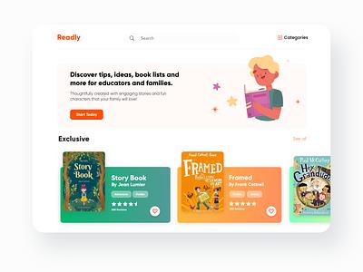 Readly web design design user interface uidesign webdesign website web branding illustration dashboad bookstore bookshop books