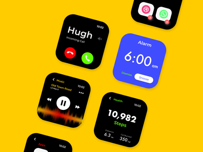 Watch OS uxdesign uidesign user interface design calling alarm health musicplayer music watchos watch