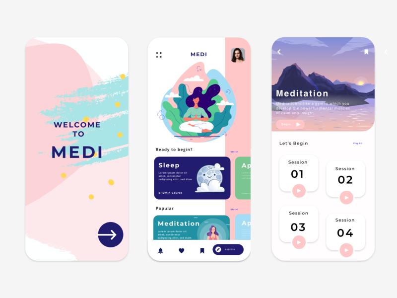Medi app psychology lifestyle mobile app mobile vector illustration onboarding user interface uidesign dashboad app design design app meditation app meditate meditation