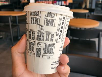 Sketching on paper cup