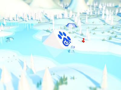 Forest winter c4d illustration baidu