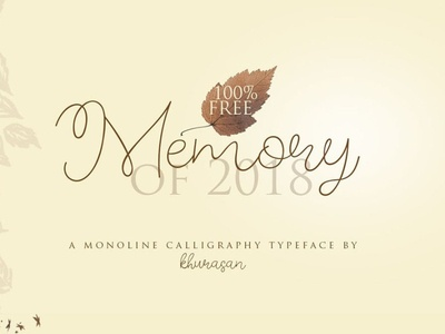 Memory monoline calligraphy  Font Free
