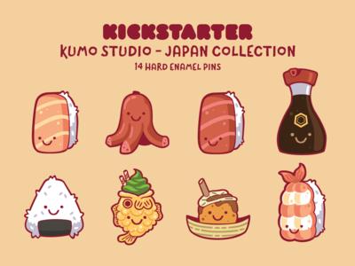Kumo Japan Enamel Pins kickstarter design illustration characters cute kawaii kumo studio kumo sushi pins enamel pin enamel