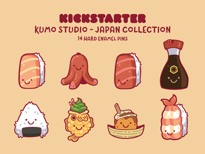 Kumo Japan Enamel Pins kickstarter design illustration characters cute kawaii kumo studio kumo sushi pins enamel pin enamel
