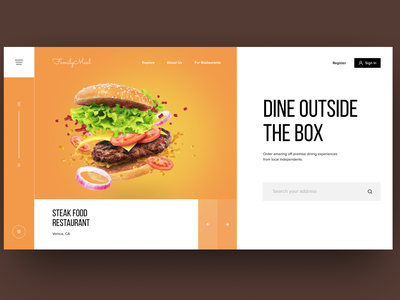 Design concept for food delivery and restaurant agregator compan landing onepage fullscreen modern orange tile meal plan meal delivery food restaurant web platform user experience design interaction concept user interface design interface ux ui