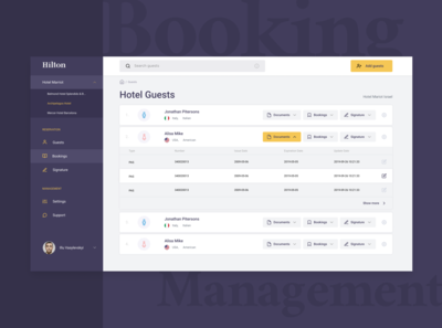 Hotels web app for quickly guests registration