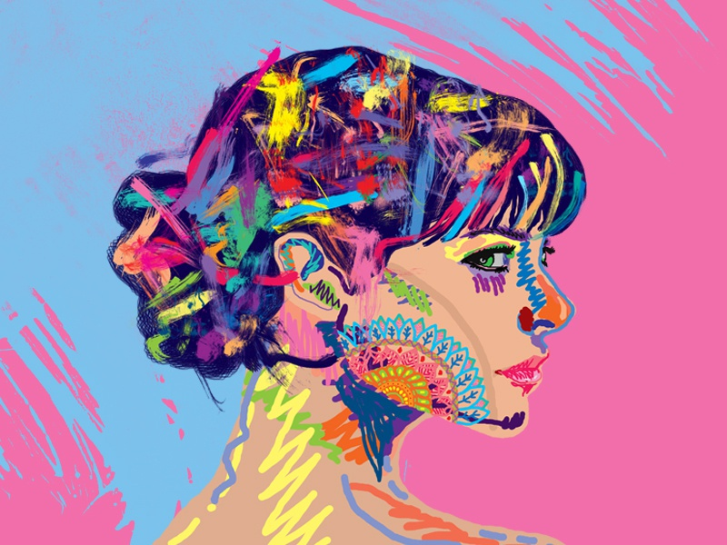 Color Expression abstact popart photoshop expression girl colorful psychedelic pop art design illustration