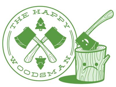 The Happy Woodsman fun simple wood axe sad mark