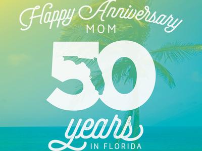 Florida 50 bright palm tree anniversary florida fun type text