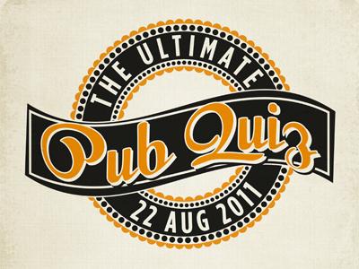 Pub Quiz Logo logo vintage circle emblem orange typography banner poster print