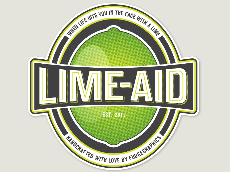 Lime-Aid Logo v2 vintage logo print retro beer bottle drink label packaging sticker