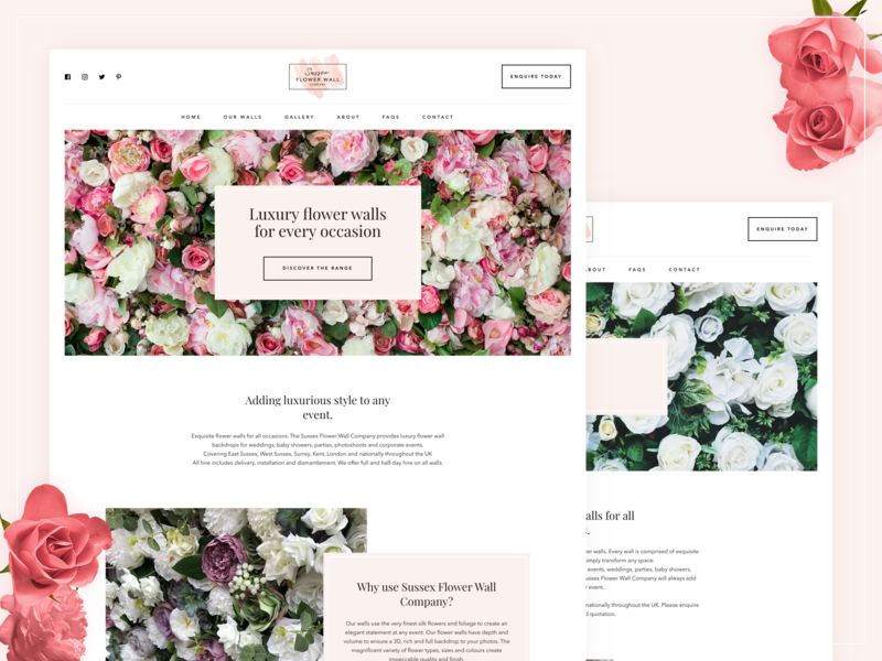 Sussex Flower Wall Company - Custom WordPress Website wordpress web development