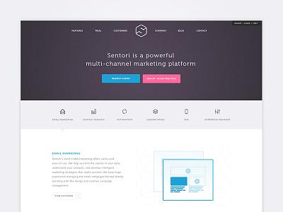 Sentori Website navigation clean marketing homepage website