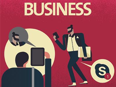 business walkcycle folder phone tablet socialmedia online skype chat illustration business character design