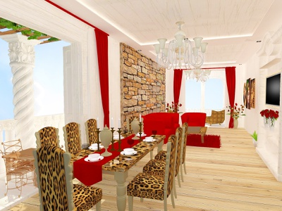 pharaon wooden floor curtain chandelier table vase cup candles chair sofa dining room living room balcony carpet rock flower tiger color 3d modeling 3d interior