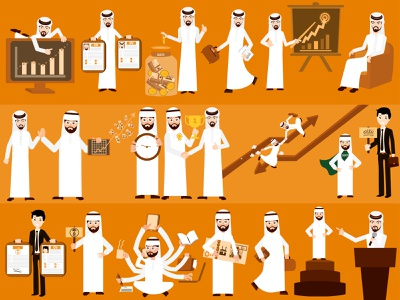 Arabian-Character stock exchange chart market meeting time management investment to-do-list contract cv sign conference money business arabian character
