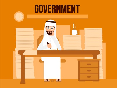 Government-office business lazy time management busy tea office goverment arabian character