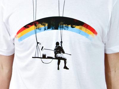 Paint it Black dobi fullbleed rainbow paint shirt