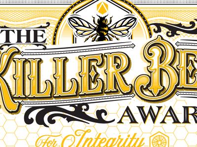 Killer Bee Type bee nick beaulieu illustration graphic design vector design custom branding calligraphy font type typography district north design http:www.districtnorthdesign.com new hampshire