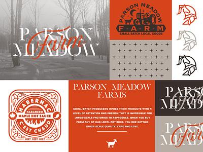 Parson Meadow Farm small batch habernac sauce hot hotsauce meadow parson tractor horse farm goat district north design vector vintage illustration branding logo nick beaulieu http:www.districtnorthdesign.com new hampshire