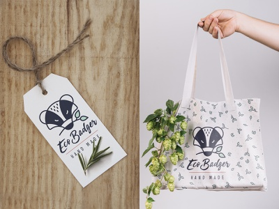 Eco Badger ecology logo nature brand identity collateral print design shop brand design branding bag