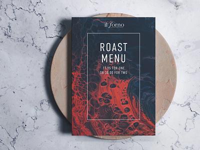 Roast Menu for Il Forno restaurant campaign leaflet poster print restaurant layout menu design menu design
