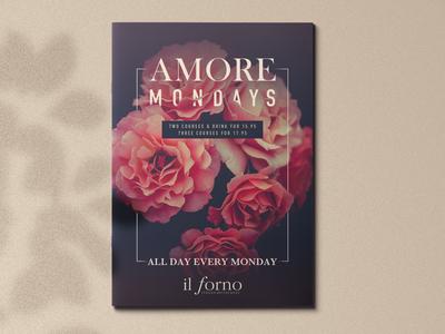 Amore Mondays flowers food mondays love amore leaflet poster marketing restaurant promo promotion