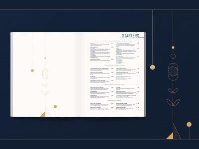 Il Forno Core Menu - STARTERS vector marketing illustration layout menu design menu restaurant brand identity design