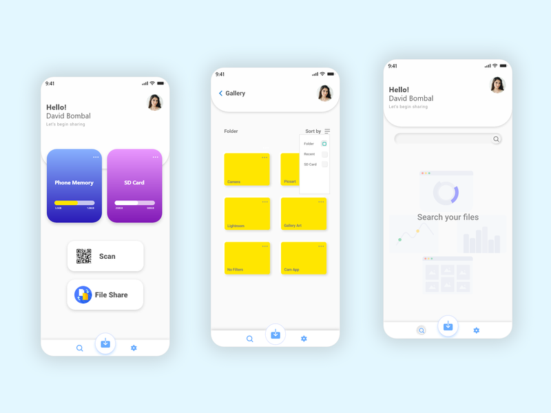 File Scanning & Sharing App file manager adobe illustration neumorphic scan file sharing android app ui  ux dribbble branding minimal uiux figma