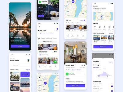 Hotel app screens destination ux ui travel simple mobile ui mobile app mobile minimal iphonex iphone ios hotel estate clean cards booking app design app adobe xd