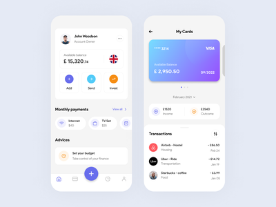 Finance App mobile app finance app financial money fintech card wallet banking app finance banking concept ios simple minimal design mobile app clean ux ui