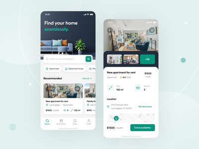 Real Estate App booking rental app buy rent home house apartment property real estate concept minimal simple design mobile app ios mobile app clean ux ui