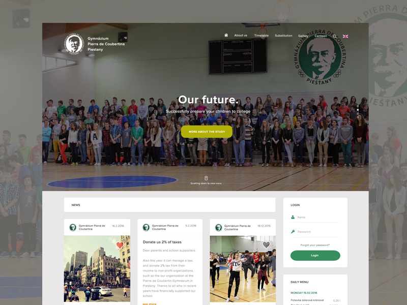 High school page slovakia page simple clean landing page high school kids website