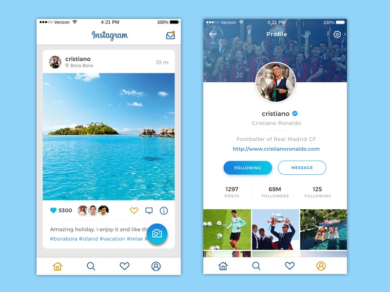 Instagram app redesign activity feed profile design ios redesign mobile ui ux app instagram