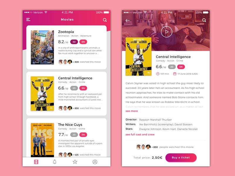 Movies app film mobile ui ux app cinema movie movies