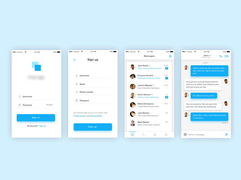 Chat App mobile ui ux app chat