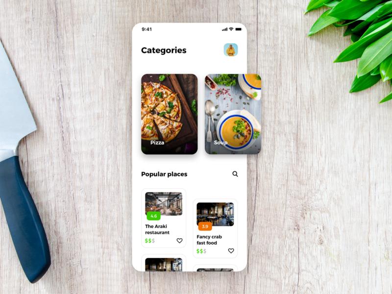 Food app app design mobile app mobile ui mobile cards minimal iphone x iphone iphonex ios restaurant app cooking app food app food cuisine restaurant ux ui clean ui clean
