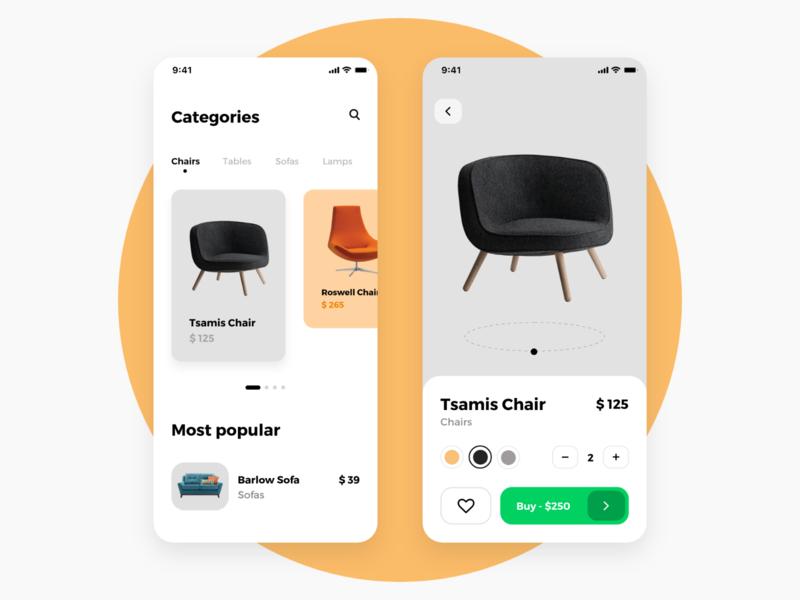 Furniture shopping app iphone ui ux mobile ios mobile app iphone x clean app mobile ui app design adobe xd minimal simple eshop ecommerce ecommerce app furniture furniture app cards