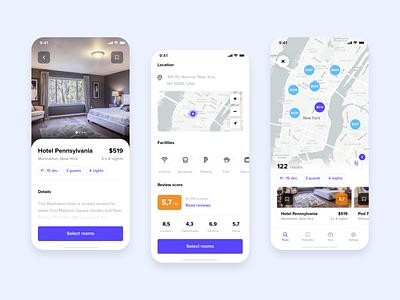Hotel app 2 travel room map iphone x minimal hotel hotel app booking estate simple design mobile ui app design mobile app ios mobile app clean ux ui