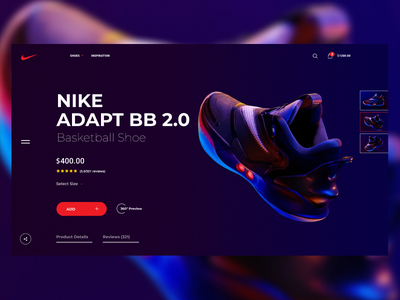 Nike Adapt BB 2.0 Basketball Shoe Concept concept shop webdesigner webdesign web branding astrology minimal art ux ui design