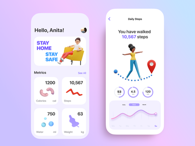 Health Fitness Mobile App ios design ios app creative activities 3d illustration 3d design app concept dashboard app app design minimal ux ui design