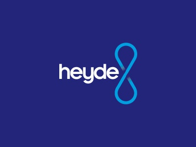 heyde logo blue white cyan mark water