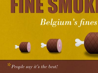 Fine Smoked Ham! yelllow brown icon typography webdesign