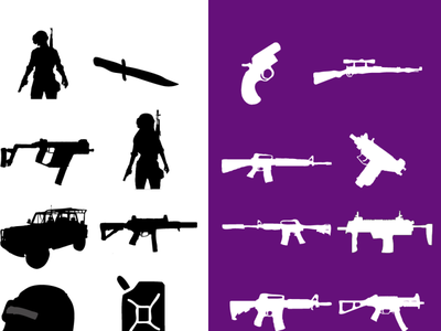 Pubg Icon cliping path print art illustrator photoshop pubg icon iocn icon design iconography icon pubg gun gun icon pabg icon icon set icons design vector illustration