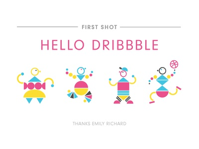 First Shot Dance Party Robots robots party dance illustration hello shot first debut
