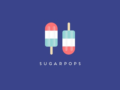 Sugarpops Logo sketchapp brand icy pole summer vector illustration typography logo identity