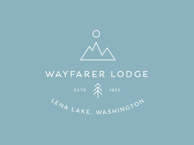Wayfarer Logo pine mountains pnw outdoor wayfarer lodge illustration typography identity brand