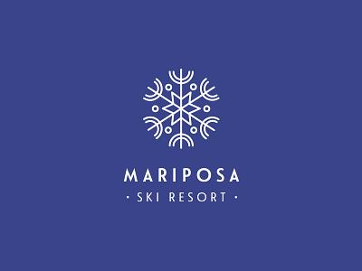 Mariposa Logo resort nature snow snowboard ski typography logo identity brand